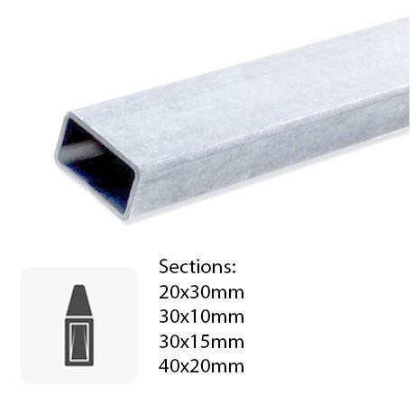 Tube rectangulaire en Inox brut coupé sur-mesure